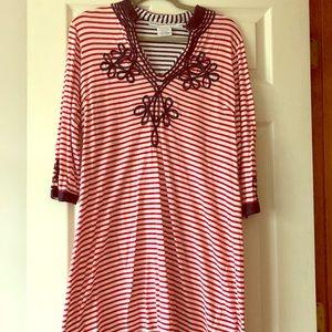 Gretchen Scott size L like new red/navy dress